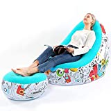 Lazy Sofa, Inflatable Sofa, Family Inflatable Lounge Chair, Graffiti Pattern Flocking Sofa, with Inflatable Foot Cushion, Suitable for Home Rest or Office Rest, Outdoor Folding Sofa Chair (Blue)