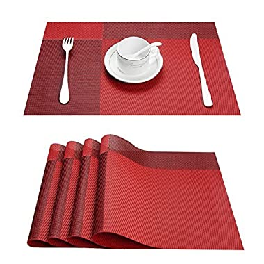 Top Finel Eco-friendly Colorful Plaid Placemats Table Mats Washable Heat-resistant for Dining Table 12  By 18  (Set of 8, Red)