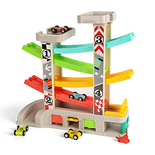 TOP BRIGHT Toddler Toys Race Track Car Gifts for 1 2 3 Year Old Boys - with Wooden Car Ramp, Parking Lot & Gas Station
