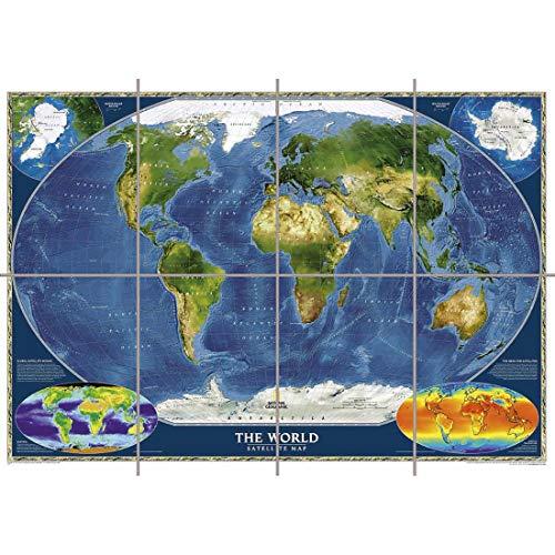 Doppelganger33 LTD Satellite Map World Wand Kunst Multi Panel Poster drucken 47x33 Zoll
