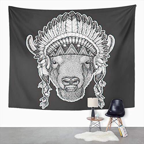 YJIANG Tapiz bohemio, Bfalo Bisonte Buey Bull Animal con tocado indio indgena, plumas, tapiz decorativo grande, manta para colgar en la pared para sala de estar, dormitorio, 203 x 152 cm