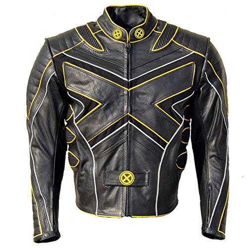 coolhides Men's Xmen Motorcycle Leather Jacket Yellow Piping Large