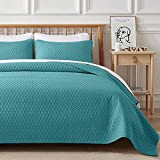 VEEYOO Quilt Set Queen Size Turquoise - Lightweight Soft Coverlet Set for All...