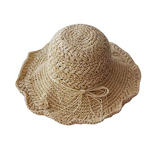 JFya Sombrero para el Sol Viaje de Verano espigas de Trigo Hecho a Mano Hojas de Ganchillo Sombrero de Paja Grande Pescador Sombrero Arco Cuenca Sombrero Visera Sombrero Femenino (Color : B)