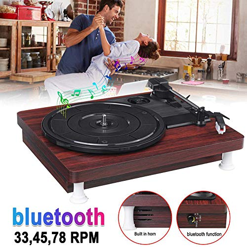 33, 45, 78 Toeren LP Platenspeler Bluetooth Ingebouwde Luidsprekers Antique Gramophone, Vinyl Record Machine Grammofoonplaatspeler
