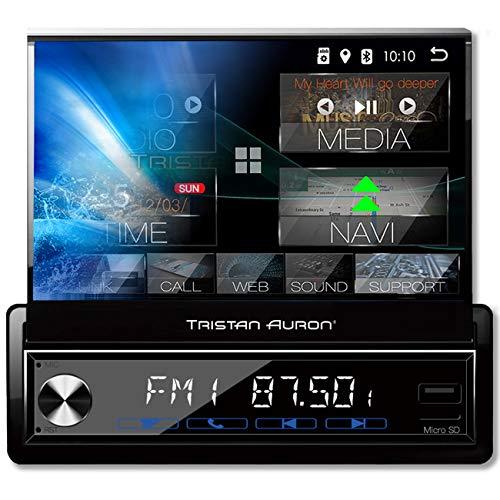 Tristan Auron BT1D7027A Android 10.0 Autoradio I 7'' Touchscreen ausfahrbar I GPS Navi 32GB Bluetooth Freisprecheinrichtung I USB SD OBD 2 DAB Plus I 1 DIN