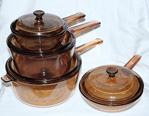 8 PIECE SET - Corning Visions Vision Ware Amber 2.5 Liter, 1.5 Liter.5 Liter Sauce Pan Pot & 7 1/2 Inch Skillet Frying Pan w/Lids