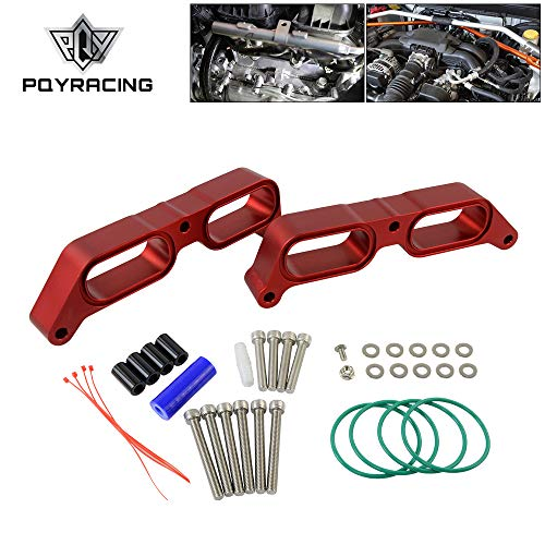 PQY Billet Power Block Intake Manifold Spacer Compatible with 13+ Subaru BRZ 13-16 Scion FR-S 17+ Toyota 86 FA20 Engine 19hp / 15tq Red