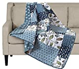 SLPR Pacific Coast Quilted Throw Blanket - 50' x 60' | Blue and White Lap Quilt for Couch and Bed