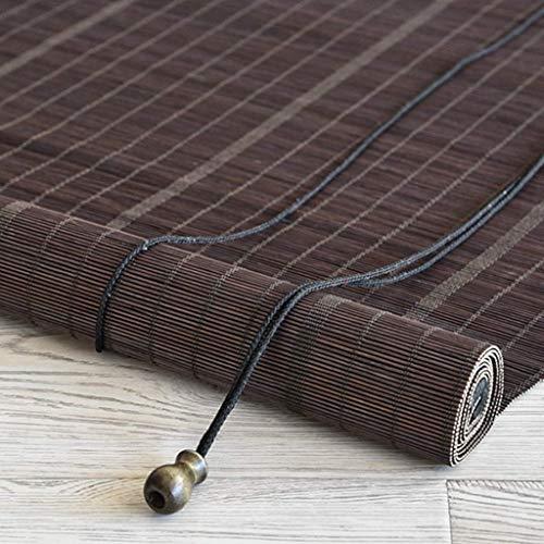 Paralume in bambù, Tende oscuranti per finestre - Porta, Bagno, cucine, camere da Letto, uffici, all'aperto, 50cm 60cm Wide Roll Blind, Marrone ZHANGAIZHEN (Color : Brown, Size : 60×140cm)
