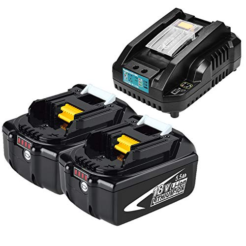 Kengdor 2 Pacco 18V 5.5Ah Sostituzione Batteria Per BL1860B BL1850 BL1840 BL1830 LXT400 + 3A Caricabatterie Con LED-Schermo Sostituzione DC18RA DC18RC 3A 14,4V~18V Caricabatterie