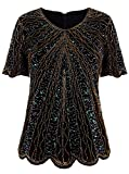 womens beaded tops - VIJIV Women's 1920s Vintage Black Gold Beaded Tops Flapper Evening Top Roaring 20s Sequin Great Gatsby Shirt Blouse Tunic