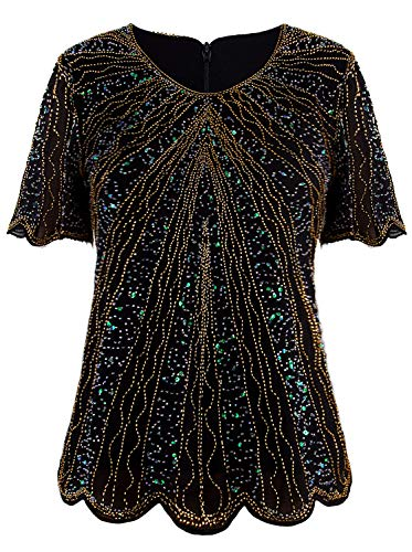 VIJIV Women's 1920s Vintage Black Gold Beaded Tops Flapper Evening Top Roaring 20s Sequin Great Gatsby Shirt Blouse Tunic