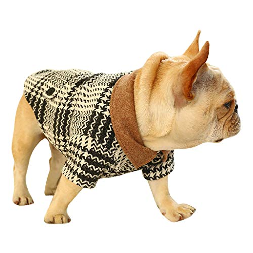 Smniao Winter Hunde Kleidung für Kleine Hunde Bulldogge Kariertes Anzug Sweater Pullover Chihuahua Kostüm Haustier Mantel (XL, Schwarz)
