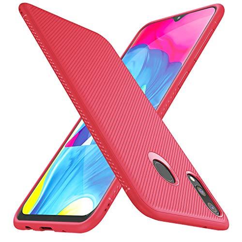 iBetter für Samsung Galaxy M20 Hülle, Ultra Thin Tasche Cover Silikon Handyhülle Stoßfest Hülle Schutzhülle Shock Absorption Backcover Hüllen passt für Samsung Galaxy M20/M2 Phone(Rot)