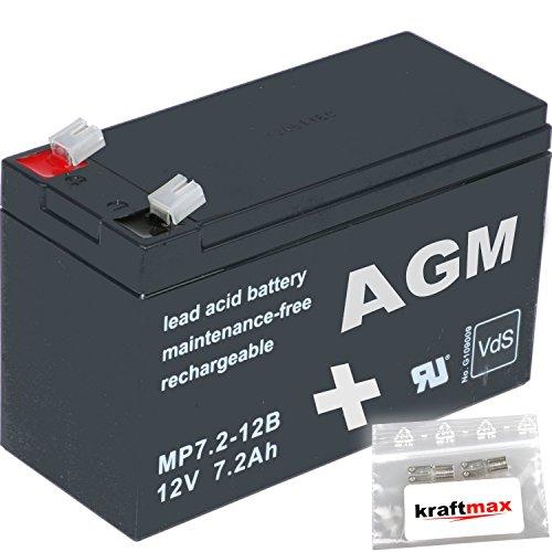 kraftmax 1x AGM 12V / 7,2Ah Blei-Akku - MP7,2-12B [ Faston 6,3 ] VDs geprüft - inkl. 2X Original Anschluß-Adapter
