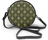 BAODANLA Bolso redondo mujer Round Crossbody Bag Asian Tropical Nature Crossbody Purse PU Leather Zipper Shoulder Bag Sling Bag