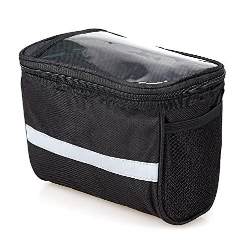 Bolsa delantera aislada para bicicleta de ciclismo, accesorios para bicicleta, soporte para teléfono de bicicleta MTB bolsa de manillar con tira (color negro)