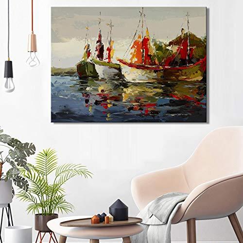 Carteles e impresiones abstractos modernos del barco del mar del paisaje marino imágenes artísticas de la pared pintura en lienzo para la sala de estar decoración del hogar mural 40x50cm sin marco