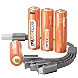 Innovaprise Lithium AA Batteries, Rechargeable Batteries AA 2800mWh AA Recharge Li-Ion Battery with USB Charger, 4-in-1 Micro USB Charging Cable, 1.5V Lithium Ion AA Battery Over 1200 Cycles(4 Pack)
