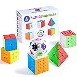 Paochocky Cubo Mágico Puzzle Pack, Cubo de la Velocidad Paquete- 2x2 3x3 4x4 5x5 Cubo de la Pirámide Magic Rainball Ball, con Caja de Regalo