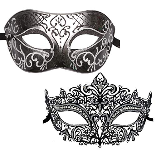 Xvevina Couple Masquerade Metal Masks Venetian Halloween Costume Mask Mardi Gras Mask (Black Silver 2 Pack)