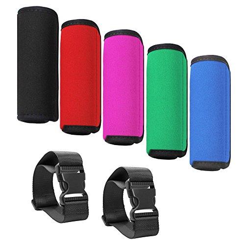 Senhai Neoprenhülle für Gepäckgriff, angenehm weich, mit 2zusätzlichen Reisegepäckträgern, mehrfarbiges Zubehör für Tasche / Koffer, 5 Stück,Schwarz, Rot, Pink, Grün, Blau
