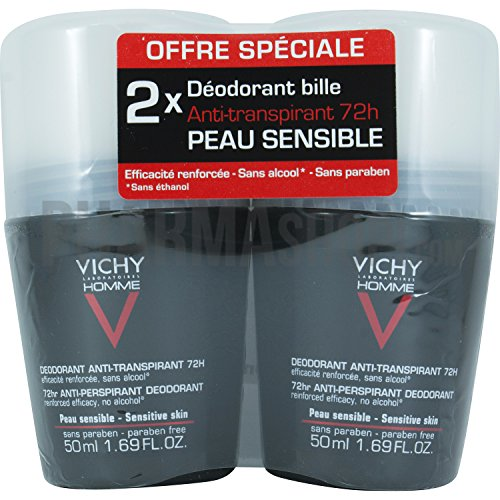 Vichy Homme Deodorante Roll On Anti Traspirazione 72H - confezione da 2 2x 50 ML)