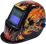 BOLTHO Solarbetriebener Schweißhelm Automatische Verdunkelungshaube mit einstellbarem Farbtonbereich 4/9-13 für Mig Tig Arc Schweißer Maske (Flaming Skull)