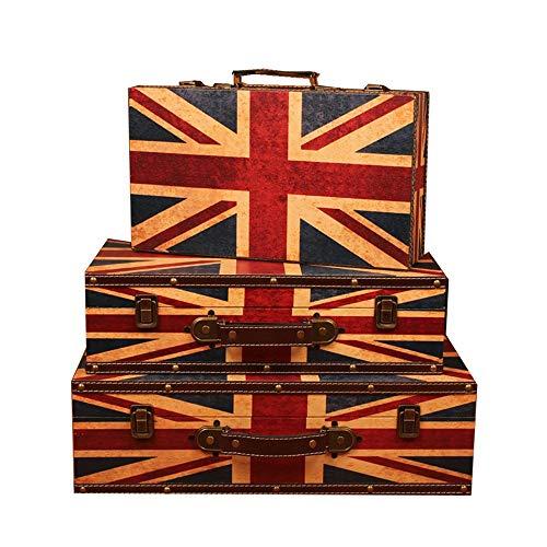 Yamyannie Maletas Vintage Caja de Almacenamiento Caja del Tesoro Decorativo de Madera 3pcs Fotografía Antigua Ventana Puntales Display Box Cajas (Color : A, Size : S+M+L)