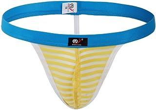UJUNAOR Men's Stripe Soft Briefs Underpants Fast-Drying Knickers Shorts Sexy Underwear