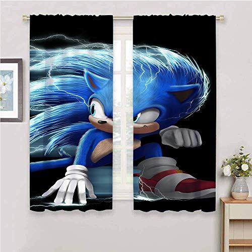 Cortinas con bloqueo de luz para sala de estar, cortinas de sonido para dormitorio de niños, cortinas opacas para recámara Sonic Tails (personaje) Nudillos, Sonic Force, poliéster, Color_09, W54' x L39'(140cm x 100cm)