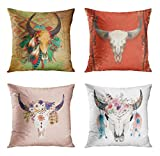ArtSocket Set of 4 Throw Pillow Covers Southwestern Southwest Native Skull Turquoise Feathers Map Cowboy Old Cow Decorative Pillow Cases Home Decor Square 18x18 Inches Pillowcases