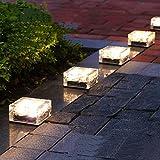 Qucover 地中埋込型ライト 4LED ソーラーライト ガーデンライト 太陽光充電 感光式センサー ガーデンライト 高輝度 防水 ガーデンライト 防犯ライト 自動充電 自動点灯 電気不要 ソーラー式 埋め込み可 キューブ型 芝生 玄関先 ガーデン庭 夜間作業 駐車場(コールドホワイト)