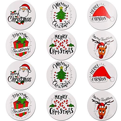 Feliz Navidad pegatinas rollo, 504Pcs Etiqueta Adhesiva Pegatinas redondas, hechas a mano, para Sello Scrapbooking Regalo Bolsa Jabón Recuerdo Boda Fiesta Aniversario Cumpleaños