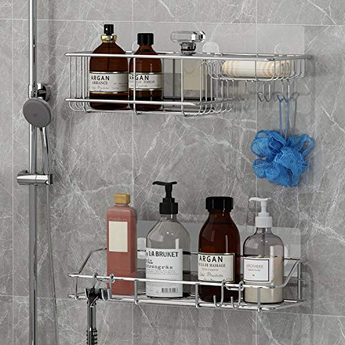 KESOL Shower Caddy Soap Dish with Hooks 3-in-1 Bathroom Shelf for Hanging Sponge and Razor,2 Pack Shampoo Holder Organizer,No Drilling Adhesive Wall Mounted,Rustproof SUS304 Stainless Steel
