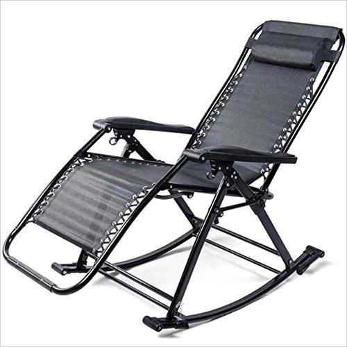 Xiaolin Chaise berçante déjeuner Pause Pliant inclinable canapé Loisirs Chaise Adulte Chaise âgée (Couleur : Black)