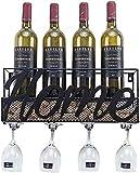 SDKFJ Botelleros Soporte para Botellas y Vasos Estante para Vino de Metal montado en la Pared Estantes para Almacenamiento de Vino Tinto 0814
