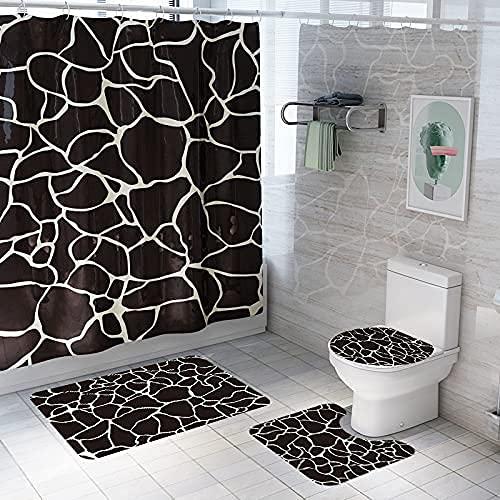 Alfombrilla de baño Antideslizante para baño, Conjunto de Cortina de Ducha de Franela, Alfombrilla de Inodoro para Sala de Ducha