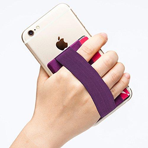 Sinjimoru Phone Grip con Tarjetero para teléfono, Stick on Phone Wallet con Phone Finger Gripper Almacenamiento de Tarjetas de crédito. Sinji Pouch Band, Purple Pouch y Purple Band.