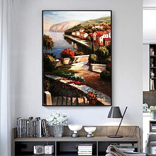 tzxdbh UnFrameless Kleinstad- en Landleven in Europa olieverfschilderij muurkunst landschap poster en afdrukken wooncultuur voor woonkamer 40X50 cm ongeframed.
