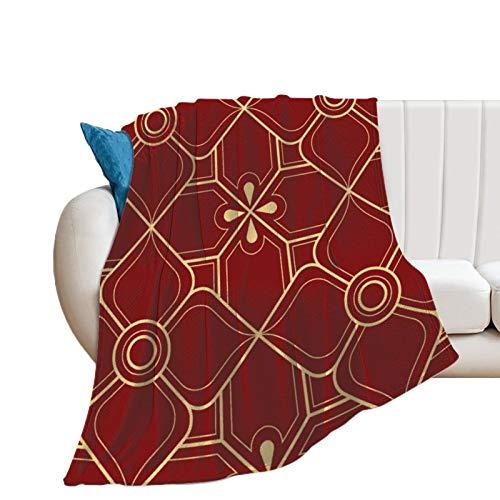 Manta de franela de línea abstracta, patrón geométrico tailandés, suave y cálida, para cama, sofá, silla, sala de estar, oficina, granja, camping, viajes, 152 x 200 cm