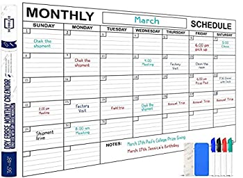 Jumbo Dry Erase Monthly Wall Calendar 48  x 36  Large Reusable Schedule Planner Includes 4 Quality Markers 1 Big Eraser and Mounting Tape
