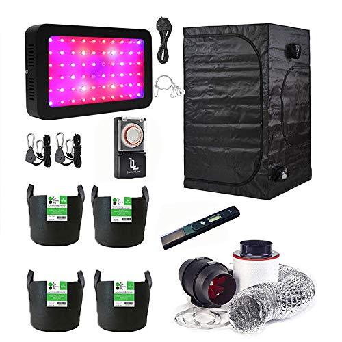 Gardeners Corner 80x80x180cm Grow Tent Kit With Full Spectrum LED/Fabric Pots/Light Timer/Twin Speed Filter Kit/pH Meter
