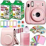FujiFilm Instax Mini 11 Instant Camera + Fujifilm Instax Film (40 Sheets) + HeroFiber Accessories Bundle - Carrying Case, Color Filters, Photo Album, Stickers, Selfie Lens (Pink)