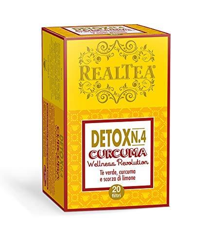 Realtea Detox N. 4 Curcuma - Infuso a base di tè verde, curcuma e limone