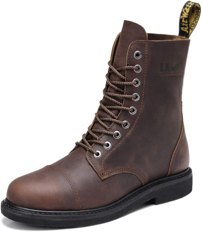 BNMZXNN Manns läderstövlar Martin, brittiska militärstövlar, tubstövlar, platta skor, arbetarstövlar, bspringaaa -42