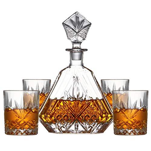 5 pc Si Sono regolati di Lusso di Vetro di Cristallo Senza Piombo casa Bar Whiskey Decanter Set con 4 Pezzi Vecchio Stile Vetro del Whisky
