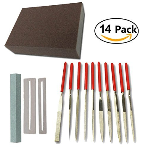 Guitar Repair Kit - Including Frets Nut File Tool/Ukelele Bass Grinding Stone/ Fingerboard Protector/Grinding Sponge and 10 Pack Stainless Steel Files Luthier Professional Repair Maintenance Tools