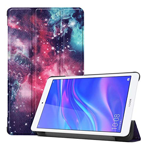 Shockproof hard and comfortable protective case Galaxy Pattern Colored Painted Horizontal Flip PU Leather Case for Huawei Honor Tab 5 8.0, with Three-folding Holder,Simple, comfortable, easy to carry.